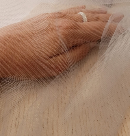 Bluish grey 100% polyamide clear invisible tulle fabric. Photo 9
