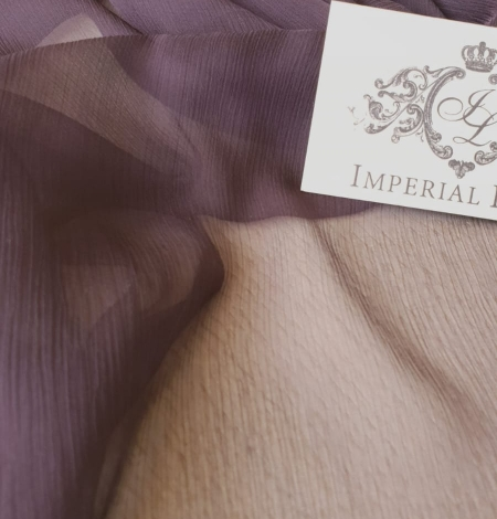 Dark lilac light silk crincle chiffon fabric. Photo 6