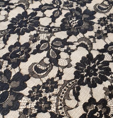 Black viscose chantilly lace fabric. Photo 3