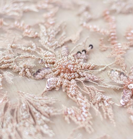 Powder pink beaded embroidery on tulle fabric. Photo 2