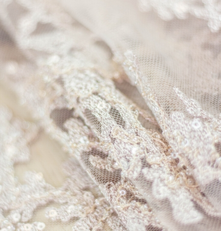 Nude organic pattern embroidery with sequins on tulle fabric. Photo 8