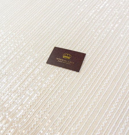 Ivory sequin beaded lace fabric. Photo 2