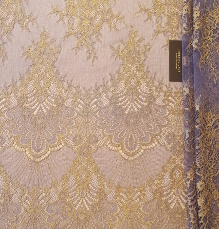 Purple with gold chantilly lace fabric. Photo 7