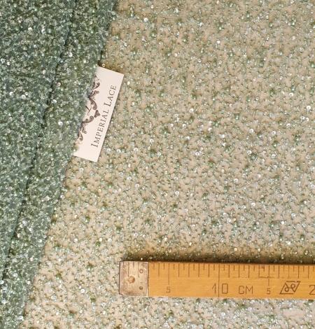 Green beaded lace fabric. Photo 6