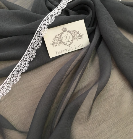 Dark grey chiffon fabric. Photo 6