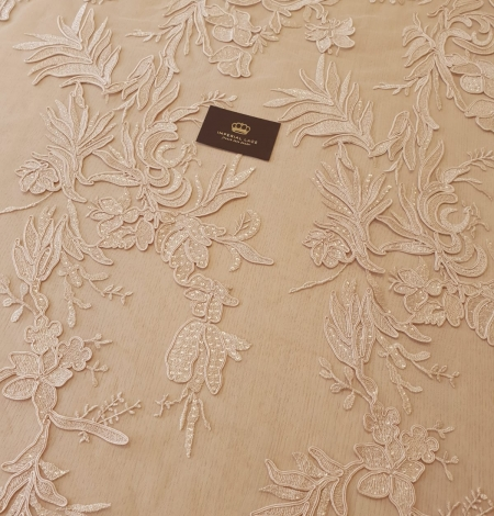 Beige sequin embroidery on soft tulle fabric. Photo 7