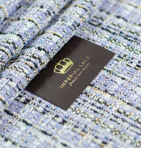 Lilac with blue shade with multicolor tweed fabric. Photo 1
