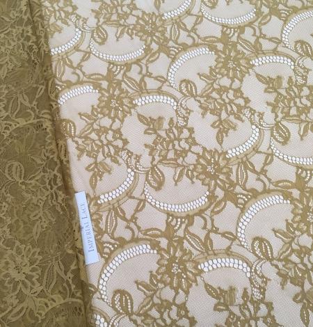 Khaki green lace fabric. Photo 5