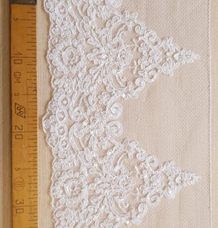 White Alencon lace fabric. Photo 7