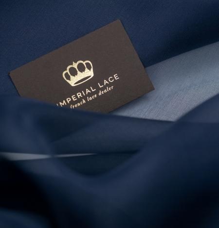 Dark blue silk organza fabric. Photo 3