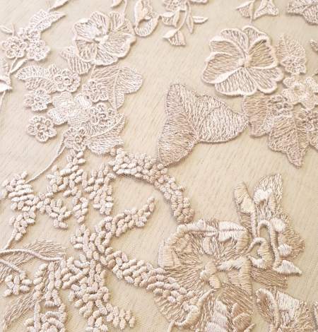 Dark powder nude floral pattern embroidery on tulle fabric. Photo 6