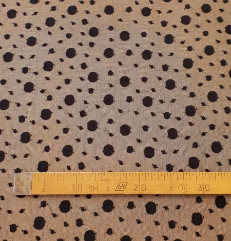Black 100% polyester abstract circle pattern tulle fabric. Photo 8