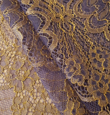 Purple with gold chantilly lace fabric. Photo 4