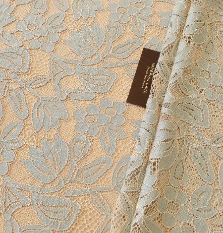 Beige with blue 70% cotton with 30% polyester guipure lace fabric . Photo 9