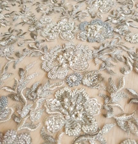 Grayish green beaded lace fabric. Photo 5