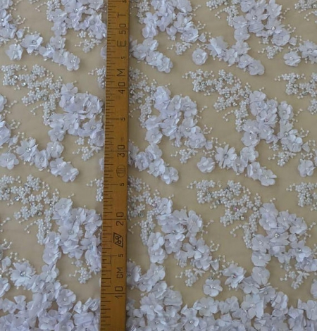White flowers lace fabric 3D. Photo 5