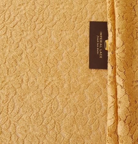 Mustard yellow 100% wool guipure lace fabric. Photo 7