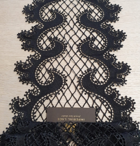 Black 100% polyester wave effect guipure lace trimming. Photo 5