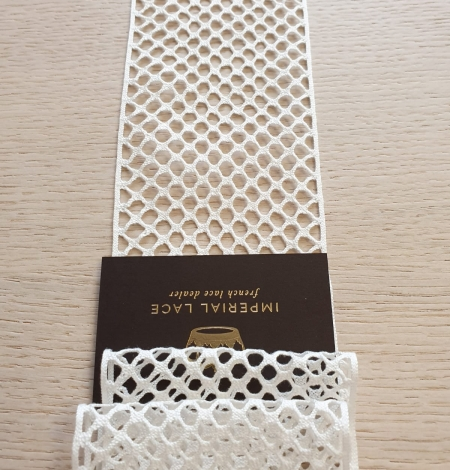 Ivory cotton mesh lace trimming. Photo 5