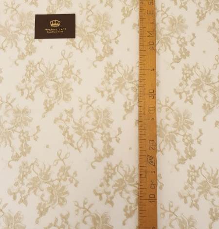 Ivory with gold thread viscose lace fabric. Photo 5