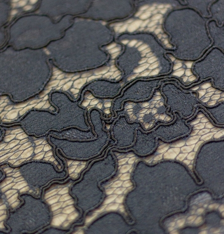 Dark blue floral guipure lace on black organza fabric. Photo 5