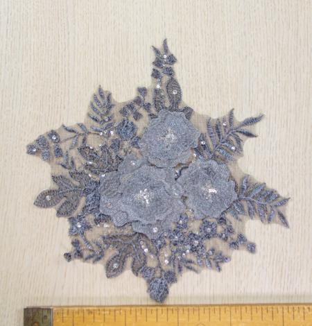 Dark grey 3D floral beaded lace applique 2 pcs set . Photo 8