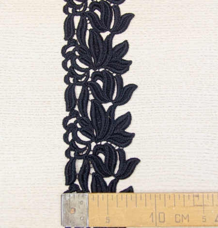 Black floral pattern thick macrame lace trimming. Photo 8