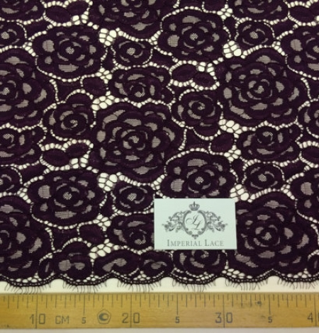 Dark Lilac Lace Fabric. Photo 4