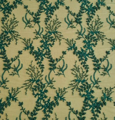 Green beaded lace fabric. Photo 3