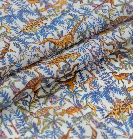 Multicolor nature pattern light cotton fabric. Photo 3