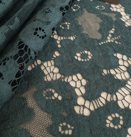 Dark green cotton guipure lace fabric. Photo 5