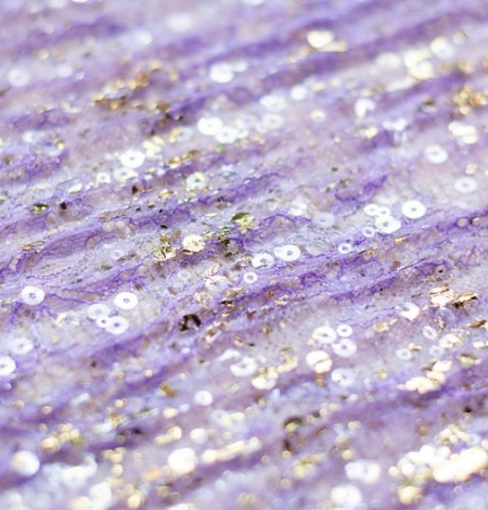 Purple crincle chantilly lace fabric with gold sequins. Photo 3