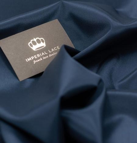 Navy blue viscose with elastane lining fabric. Photo 1