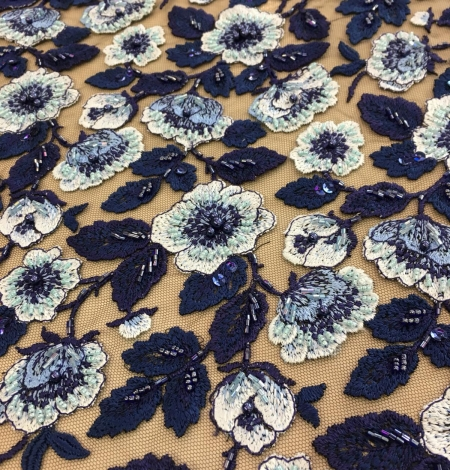 Blue beaded embroidery lace fabric. Photo 7