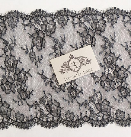 Navy blue chantilly lace trim from France. Photo 2