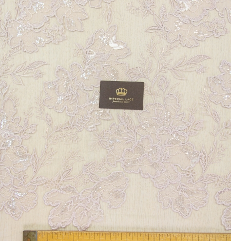 Old rose floral pattern embroidery with sequin on tulle fabric. Photo 9