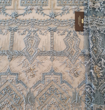 Greyish blue beaded with hanging details embroidery on tulle. Photo 7