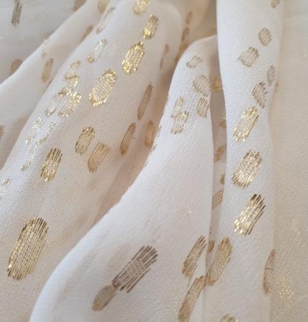 Ivory with gold dots silk crepe chiffon fabric. Photo 9
