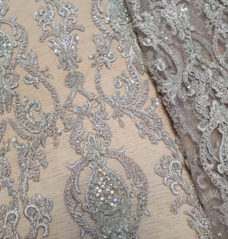 Lilac grey beaded lace fabric. Photo 6