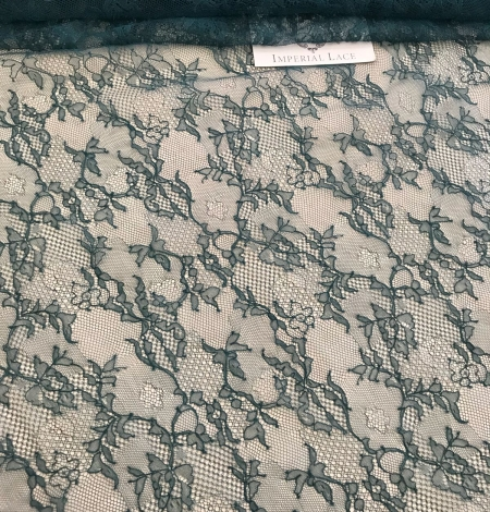 Deep teal green lace fabric. Photo 8
