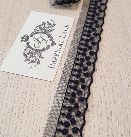 Dark blue dots on tulle lace trimming. Photo 1