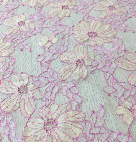 Pink with light yellow lace fabric. Photo 8