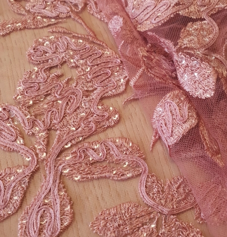 Raspberry pink floral pattern embroidery sequins on soft tulle fabric. Photo 4