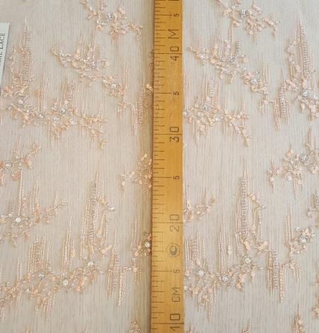 Peach beaded lace fabric. Photo 9