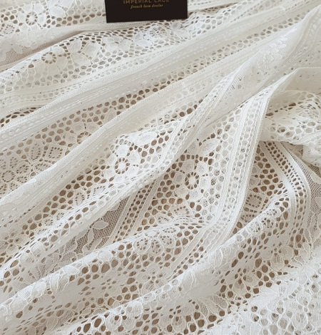 Ivory chantilly floral and stripes lace fabric. Photo 3