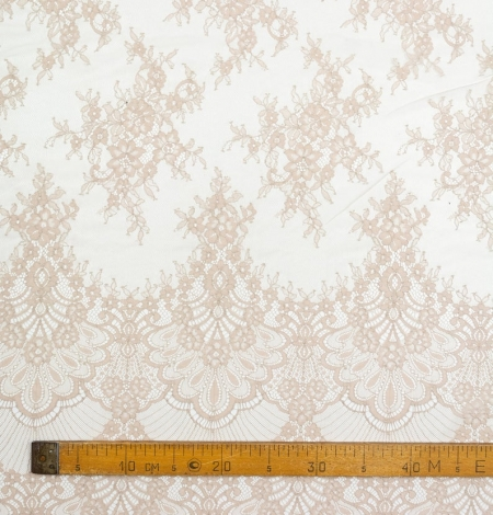 Beige chantilly lace fabric. Photo 6
