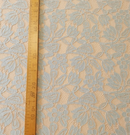 Beige with blue 70% cotton with 30% polyester guipure lace fabric . Photo 6