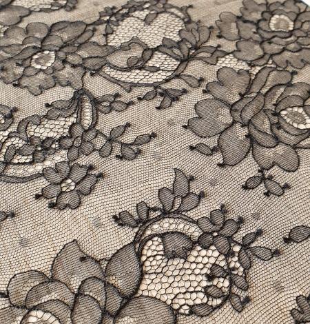 Black elastic chantilly lace fabric. Photo 3