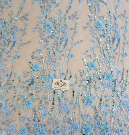 Blue 3D floral organic pattern on tulle fabric. Photo 5