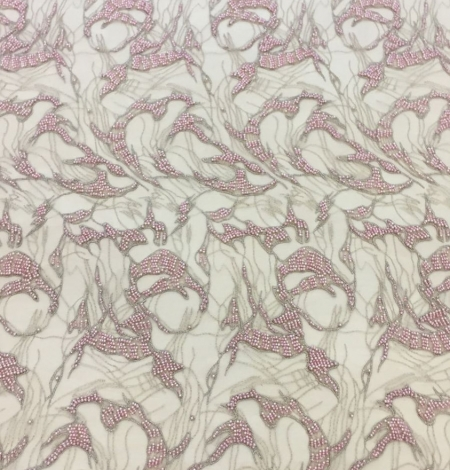 Pink lace fabric, beaded luxury 3D lace fabric. Photo 5